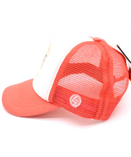 Unicorn love hat in orange coral comfy trucker style mesh panels, foam front, and adjustable snapback. Made for children youth, boys, girls, and even toddler with snapback. Kids baseball hat Sold by SDtrading Co.