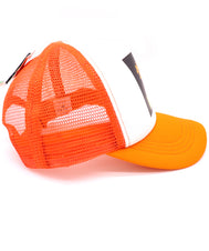 Kids Trucker Hat #1 number one in bright orange with breathable mesh. Foam white front with black square, with printed orange pound sign, and teal number one. Letter Kid in yellow. Cool summer hat for youth, boys, girls, and even toddler with snapback. Kids baseball hat Sold by SDtrading Co.