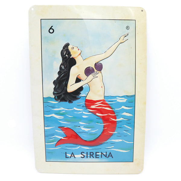La Sirena loteria card stamped on a metal sheet frame in full color in its packaging a perfect home decor gift for anyone