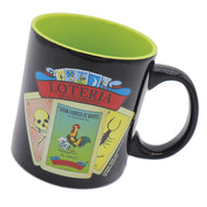 Solid Black ceramic mug with a Loteria design featuring the top favorite cards and a red banner with verbiage Loteria Don Clemente