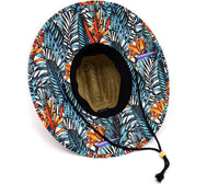 Adult lifeguard straw hat featuring lined bottom and upper rim. Wide brim with bird of paradise, strelitzia reginae, and tropical foliage palm leaves. Great men's vacation hat or women' beach hat vibes. Adjustable draw cord string. Sold by SDTrading Co