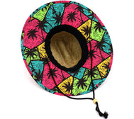 Adult lifeguard straw hat with front San Diego, California patch. Wide straw brim. Featuring colorful geometric shapes in neon green, pink, and yellow, with black silhouette black palm trees. Great men's vacation hat or women' beach hat vibes. Adjustable draw cord string. Sold by SDTrading Co