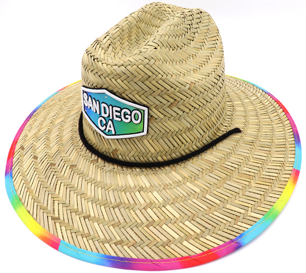 Adult lifeguard straw hat featuring tie dye pattern. Great Vacation hat, beach hat, pool hat, cool hat, summer hat. Men's Straw hat, women's straw hat, adult straw hat. Tie Dye hat. Adjustable draw cord string. Sold by SDTrading Co
