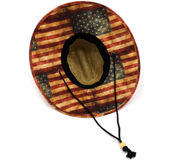 Men's USA lifeguard straw hat vintage old glory faded United States pattern flag. Great Vacation hat, beach hat, pool hat, cool hat, summer hat, fourth of July, 4th of July straw hat, lifeguard straw hat, adult straw hat. Tie Dye hat. Adjustable draw cord string. Sold by SDTrading Co