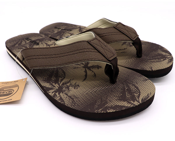 Men Sandals : Palm Tree Print Flip Flops