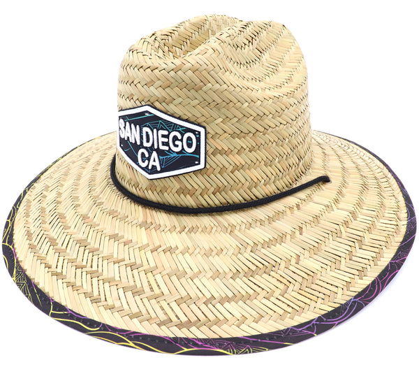 Adult lifeguard straw hat featuring lined bottom and upper rim. Wide brim with colorful surfboards and waves outlined over a brown background. Vacation hat, beach hat, pool hat, cool hat, summer hat. Men's Straw. Adjustable draw cord string. Sold by SDTrading Co