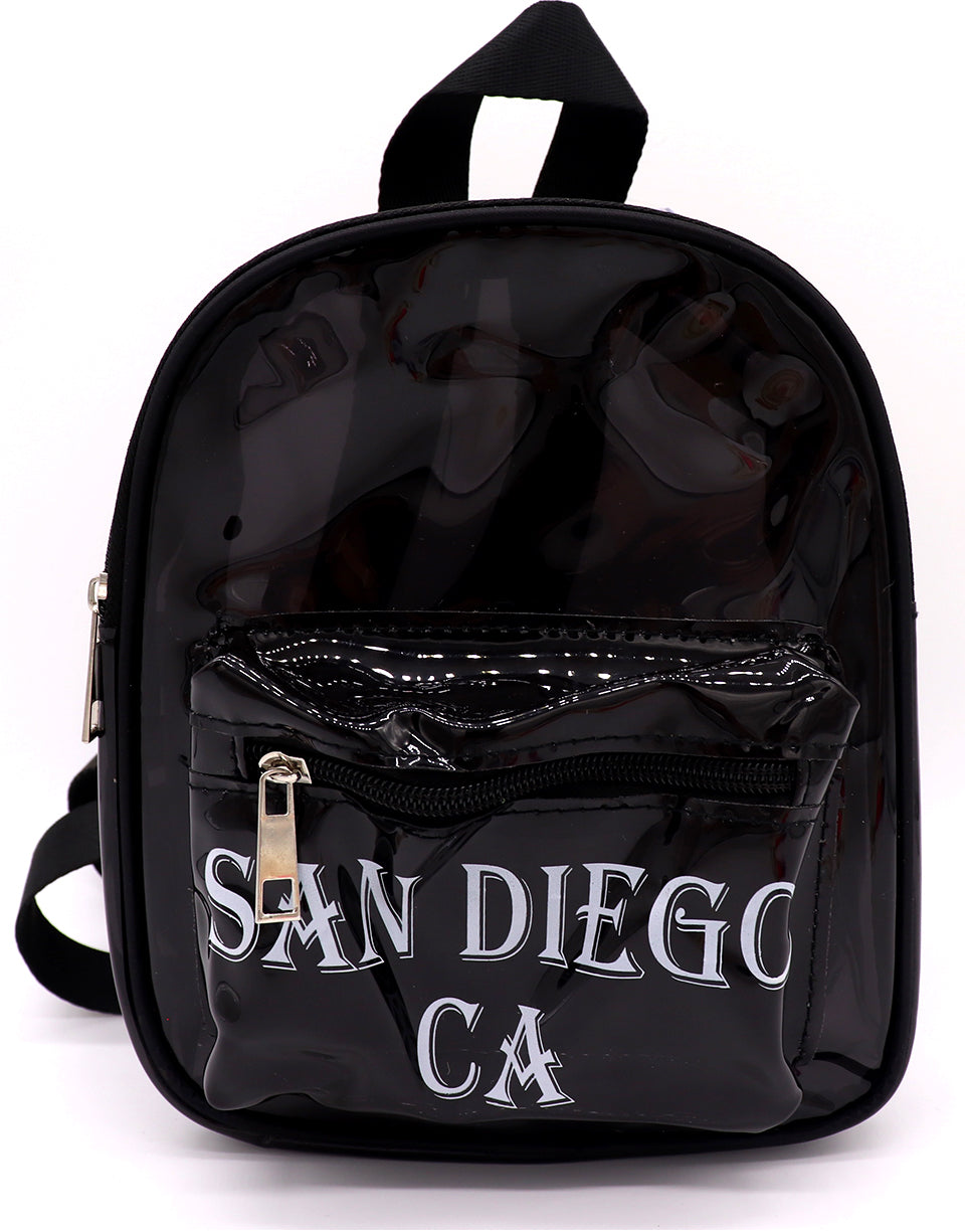 Front view of black clear mini backpack featuring verbiage San Diego Ca on two lines on the center of the front pocket