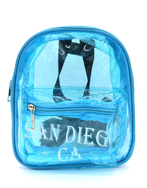 Front view of turquoise clear mini backpack featuring verbiage San Diego Ca on two lines on the center of the front pocket