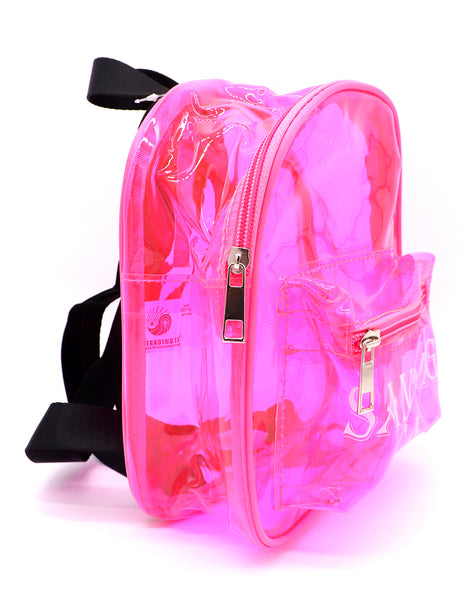 Front view of pink clear mini backpack featuring verbiage San Diego Ca on two lines on the center of the front pocket