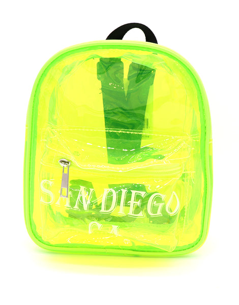 Front view of yellow clear mini backpack featuring verbiage San Diego Ca on two lines on the center of the front pocket