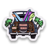 Mission Beach Surf Woody Sticker