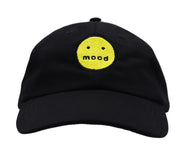 Solid black color dad hat with an embroidered yellow smiley round face with mood mouth. Meh, tired, expressionless day this is the perfect fun cap.