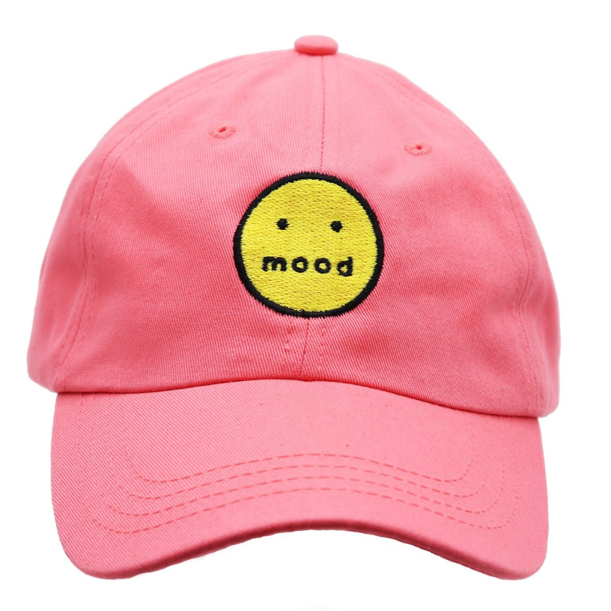 Solid grapefruit color dad hat with an embroidered yellow smiley face outlined in black and the word mood instead of the mouth