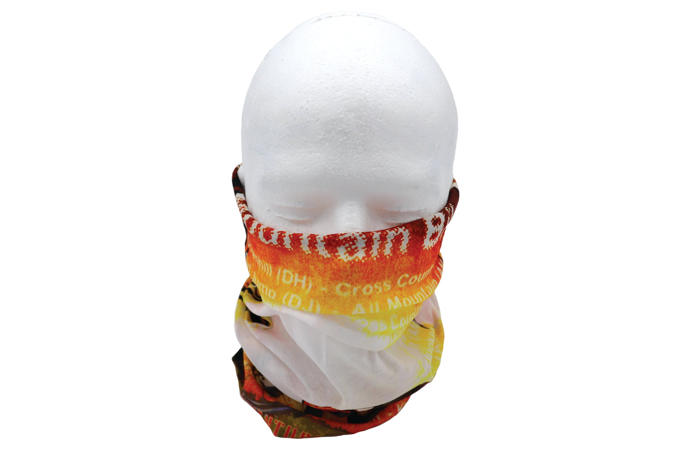 Adult gaiter mountain biker head wear. Adult male biker on a bike. Orange hues of colors with Mountain Biker words. Cloth accessory that easily converts into a headband, wristband, hair-band, neckerchief, beanie, bandana, mouth covering for face mask.