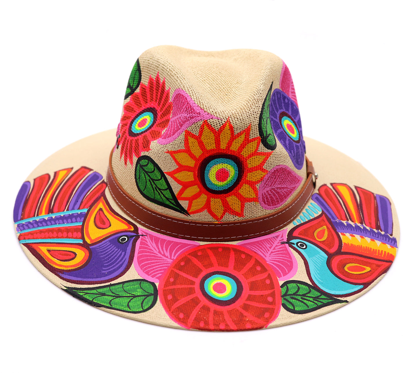 Adult hat uniquely hand painted by local mexican artist. Sombrero hat are comfortable and offer nice shade for summer heat protection and keeping cool. Great cultural piece or gift for a loved one. Each design is unique. Natural color Hat with brown strap and sunflowers and birds design.