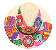 Adult hat uniquely hand painted by local mexican artist. Sombrero hat are comfortable and offer nice shade for summer heat protection and keeping cool. Great cultural piece or gift for a loved one. Each design is unique. Natural color Hat with dark brown strap and sunflowers and birds design.