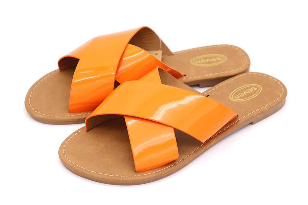 Women Sandals Neon Orange double cross yellow sandals featuring two straps crossed over, slip on flats for Women sandals. Women Shoes. Neon Shoes. Neon Sandals. Size 5, Size 6, Size 7, Size 8, Size 9, Size 10 Sandals. Sold by SDTrading Co.