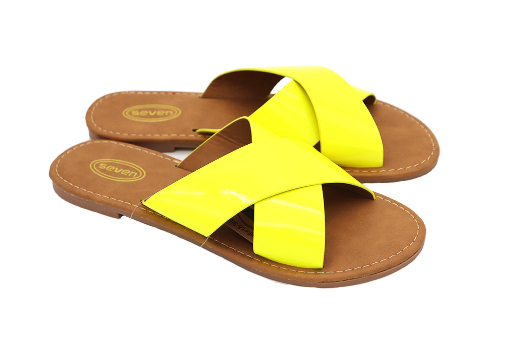 Women Sandals Neon Yellow double cross yellow sandals featuring two straps crossed over, slip on flats for Women sandals. Women Shoes. Neon Shoes. Neon Sandals. Size 5, Size 6, Size 7, Size 8, Size 9, Size 10 Sandals. Sold by SDTrading Co