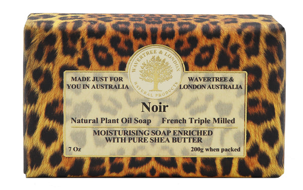 Noir Soap 100% Certified Sustainable pure plant oils and organic shea butter with no added color or artificial preservatives Cheetah print wrapping paper
