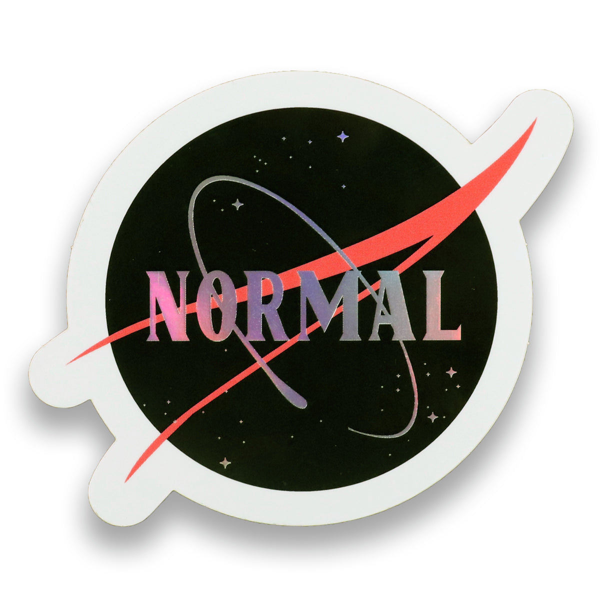 Normal sticker holographic rainbow colors. Stars, galazy, NASA, Pride, LGTBQ lesbian gay transsexual bisexual queer community. Normalize people. Trendy popular fashion and political.