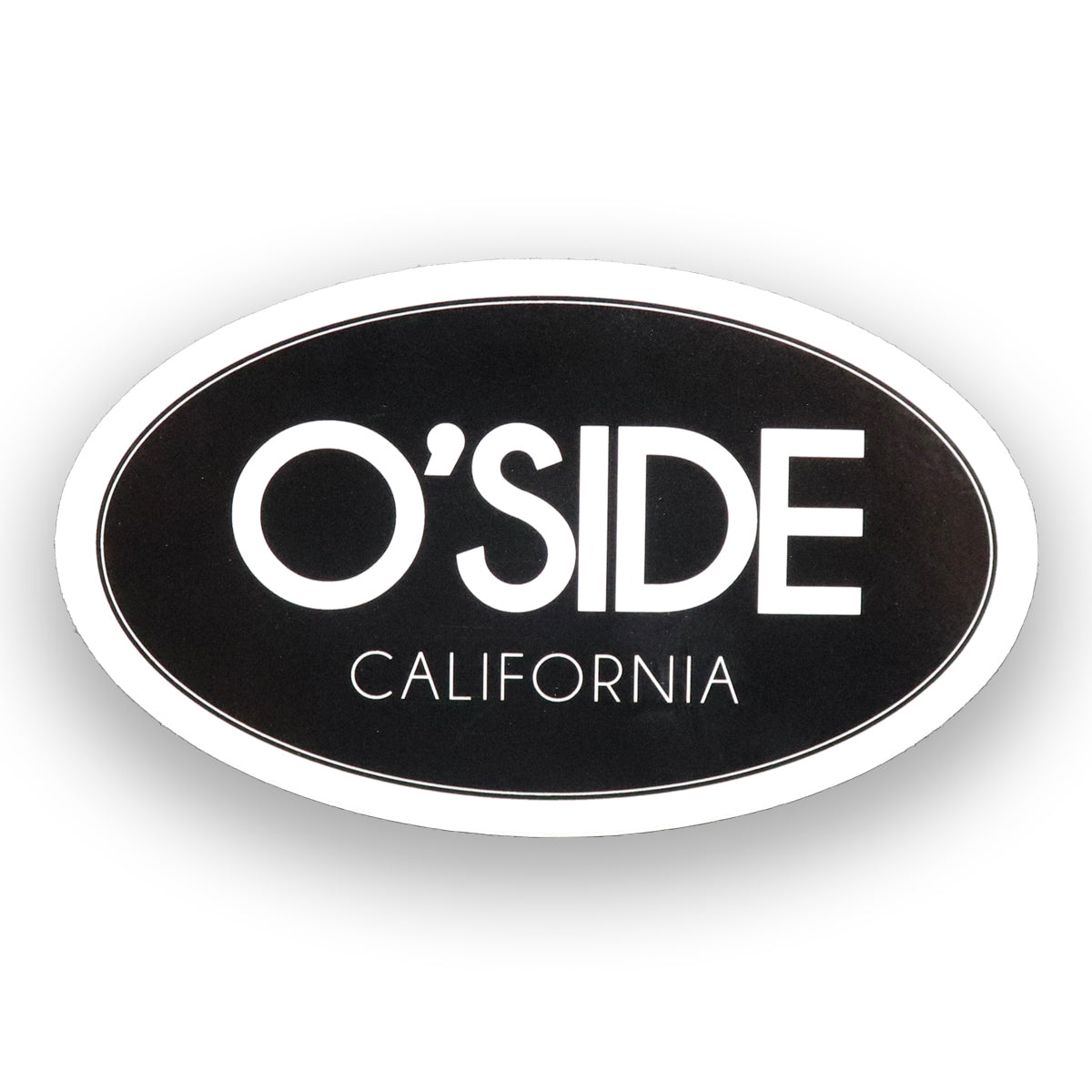 Oceanside California sticker. Black and white classic sticker with O'side printed in white block letters and California in white letters below. Oval shape black background and white letters. Sold by SDTrading Co.