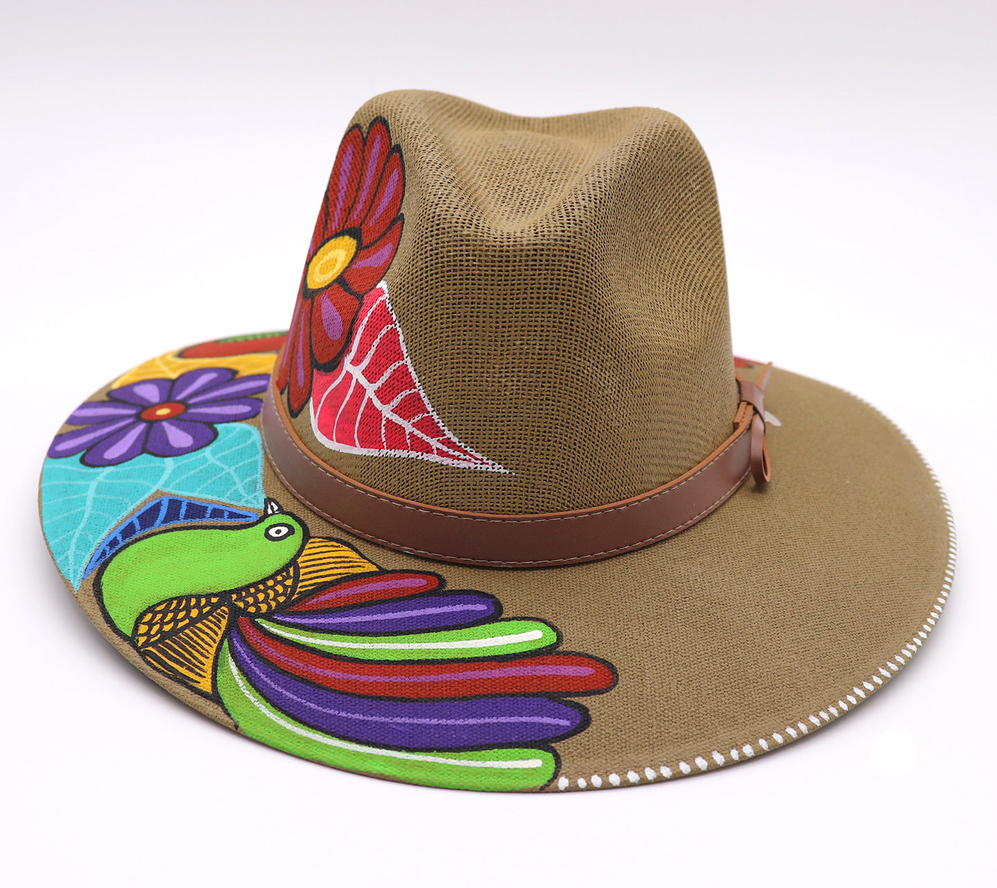 Back of Hat. Adult hat uniquely hand painted by local mexican artist. Sombrero hat are comfortable and offer nice shade for summer heat protection and keeping cool. Great cultural piece or gift for a loved one. Each design is unique. Khaki Hat with light brown belt, and flowers and birds design.