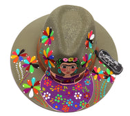 Adult hat uniquely hand painted by local mexican artist. Sombrero hat are comfortable and offer nice shade for summer heat protection and keeping cool. Great cultural piece or gift for a loved one. Each design is unique. Khaki Hat with light brown belt, and Frida Kahlo flowers design.