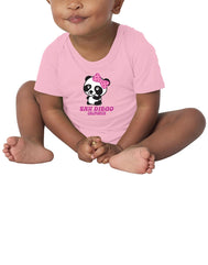 Girl baby Panda polka dot pink bottom snap onsie. Fun, Beautiful, Cool and Trendy design. Make an outfit for everyday wear, by local San Diego, California Artist. Design, Printed, and Sold by San Diego Trading Co.