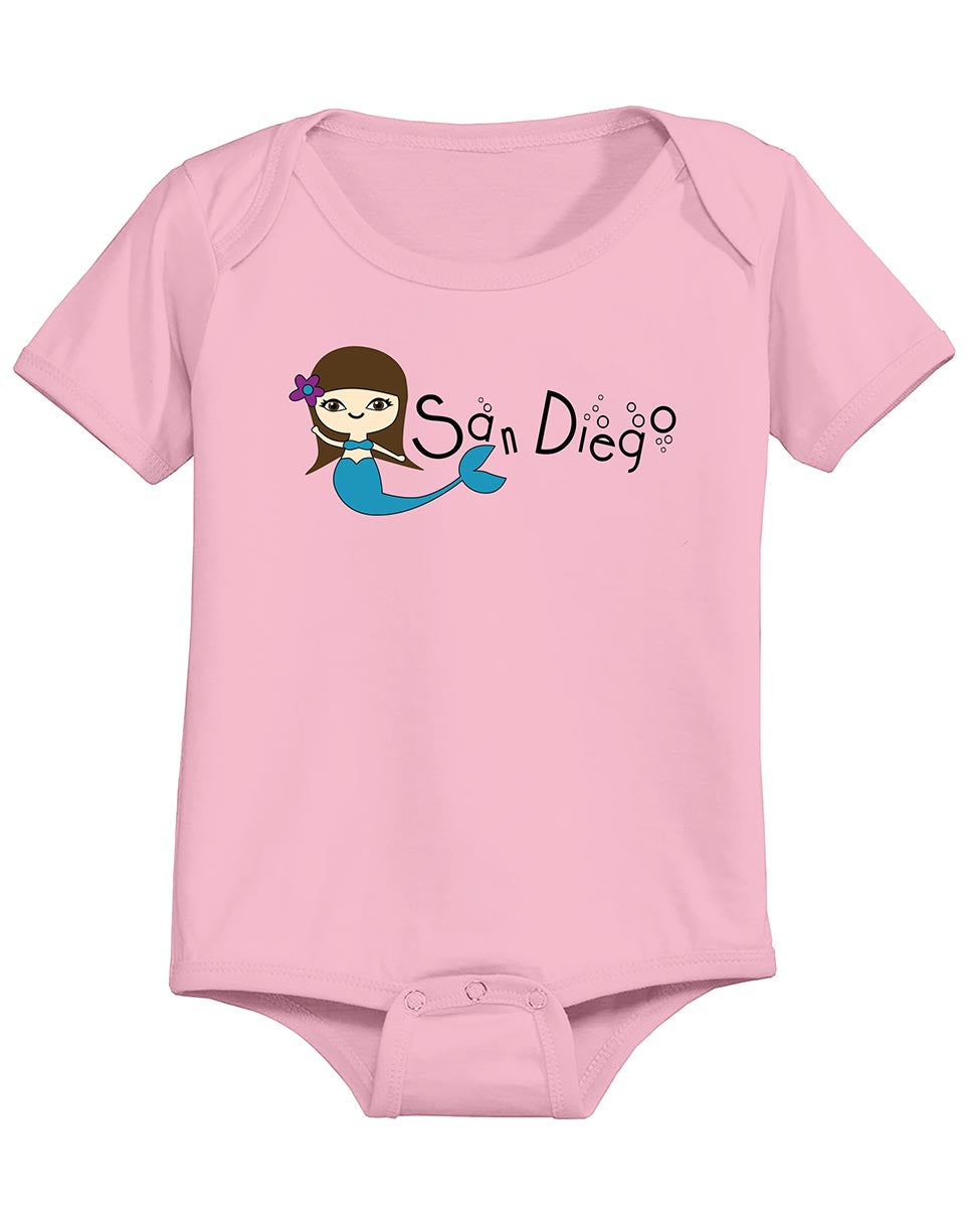 Girl baby mermaid san diego pink onsie. Great gift for baby gender reveal, baby shower, or baby gift. Fun, Beautiful, Cool and Trendy design. Make an outfit for everyday wear, by local San Diego, California Artist. Design, Printed, and Sold by San Diego Trading Co.
