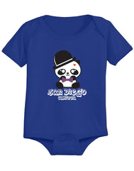 Boy baby Panda bow royal blue bottom snap onsie. Fun, Beautiful, Cool and Trendy design. Make an outfit for everyday wear, by local San Diego, California Artist. Design, Printed, and Sold by San Diego Trading Co.