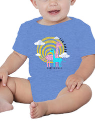 Girl or Boy unisex baby giraffe blue onsie. Great gift for baby gender reveal, baby shower, or baby gift. Fun, Beautiful, Cool and Trendy design. Make an outfit for everyday wear, by local San Diego, California Artist. Design, Printed, and Sold by San Diego Trading Co.