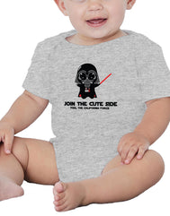 Boy or Girl unisex Darth baby join the force athletic gray graphic bottom snap onsie. Fun, Beautiful, Cool and Trendy design. Make an outfit for everyday wear, by local San Diego, California Artist. Design, Printed, and Sold by San Diego Trading Co.