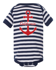 Boy or Girl unisex California anchor navy and white stripes graphic bottom snap onsie. Fun, Beautiful, Cool and Trendy design. Make an outfit for everyday wear, by local San Diego, California Artist. Design, Printed, and Sold by San Diego Trading Co.