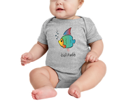 Boy or Girl unisex baby colorful fish with a dash of California attitude athletic heather gray graphic one piece. Fun, Beautiful, Cool and Trendy design. Make an outfit for everyday wear, by local San Diego, California Artist. Design, Printed, and Sold by San Diego Trading Co.