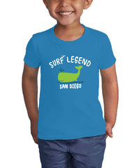 Boy Toddler surf legend whale turquoise color graphic t-shirt. Fun, Beautiful, Cool and Trendy design. Make an outfit for everyday wear, by local San Diego, California Artist. Design, Printed, and Sold by San Diego Trading Co.