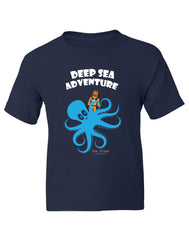 Boy Toddler sea diver octopus navy color graphic t-shirt. Fun, Beautiful, Cool and Trendy design. Make an outfit for everyday wear, by local San Diego, California Artist. Design, Printed, and Sold by San Diego Trading Co.