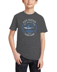 Boys or Girls unisex graphic shark t-shirt. Features a shark text Sun Beach Surf Camp San Diego. Great for back to school, summer, and everyday wear for youth. Cool laid back Cali Graphic Design by local San Diego, California Artist. Design, Printed, and Sold by San Diego Trading Co.