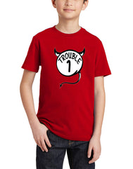 Boys  or girl youth trouble 1 red graphic tee. Fun and great for your little trouble maker. Design by local San Diego, California Artist. Graphic t-shirt features a devil circle with the number 1 inside and word trouble. Sold by SDTradidng Co. Makes a great gift.