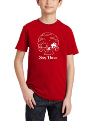 Boys  or girl youth pirate sea red graphic tee. Design by local San Diego, California Artist. Graphic t-shirt features Features pirate skull, clouds, palm trees, sail boat, waves and a bright sun all in white layout. Great piece for pirate, treasure, beach kids. Sold by SDTradidng Co. Makes a great gift.