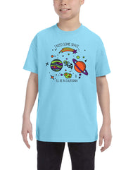 Boys or Girls unisex graphic sky blue outer space graphic t-shirt. Features planets, orbits, shootings stars. Great for back to school, summer, and everyday wear for youth. Cool laid back Cali Graphic Design by local San Diego, California Artist. Design, Printed, and Sold by San Diego Trading Co.