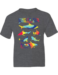 Boys or Girls unisex graphic heather dark gray  shark graphic t-shirt. Features infrared tie dye colorful pod of swimming sharks. Great for back to school, summer, and everyday wear for youth. Cool laid back Cali Graphic Design by local San Diego, California Artist. Design, Printed, and Sold by San Diego Trading Co.