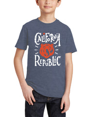 Boys or Girls unisex graphic heather denim California Republic Bear face t-shirt. Great for back to school, summer, and everyday wear for youth. Cool laid back Cali Graphic Design by local San Diego, California Artist. Design, Printed, and Sold by San Diego Trading Co.