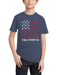 Boys or Girls unisex heather denim graphic USA flag with baseballs and stars shark t-shirt. Great for back to school, summer, and everyday wear for youth. Cool laid back Cali Graphic Design by local San Diego, California Artist. Design, Printed, and Sold by San Diego Trading Co.