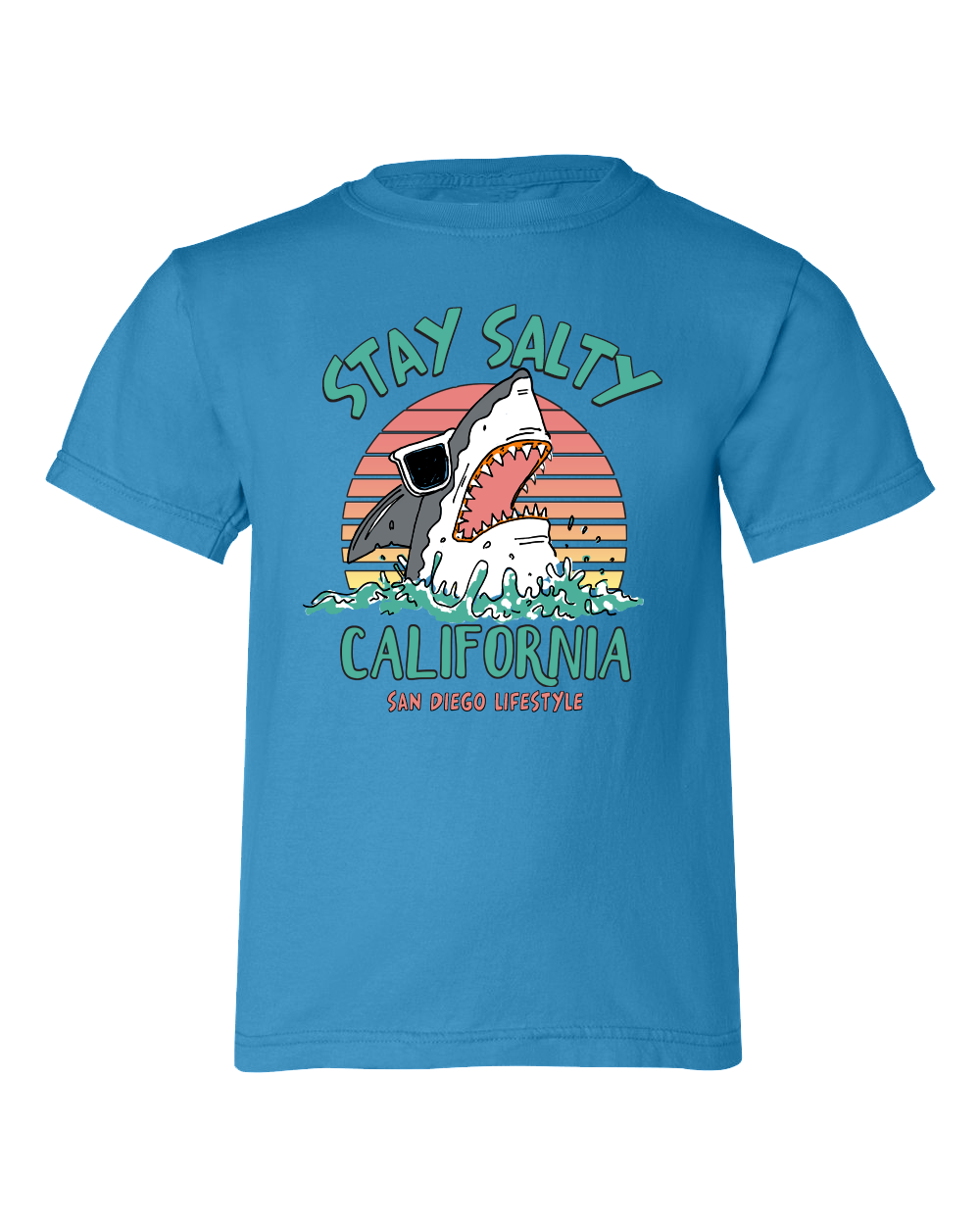 Boys graphic royal Caribbean Shark T-shirt. Great for back to school, summer, and any day wear for youth. Cool laid back Cali Graphic Design by local San Diego, California Artist. Design, Printed, and Sold by San Diego Trading Co.