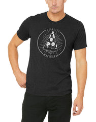 Men's black short-sleeve t-shirt featuring white circle outline with pizza logo and white Legalize Marinara verbiage