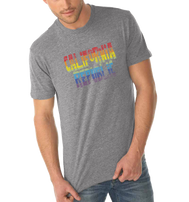 Heather gray shortsleeve t-shirt with California Republic verbiage in the center in Rainbow colors red orange yellow green blue purple