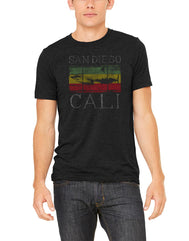 Men's dark grey short-sleeve t-shirt featuring rasta red yellow green rastafarian shark logo and white San Diego Cali verbiage