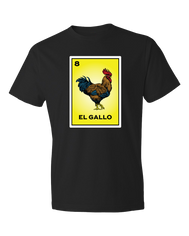 Black solid t shirt with El Gallo and a relistic Rooster Graphic printed on a yellow card from the classic Loteria game