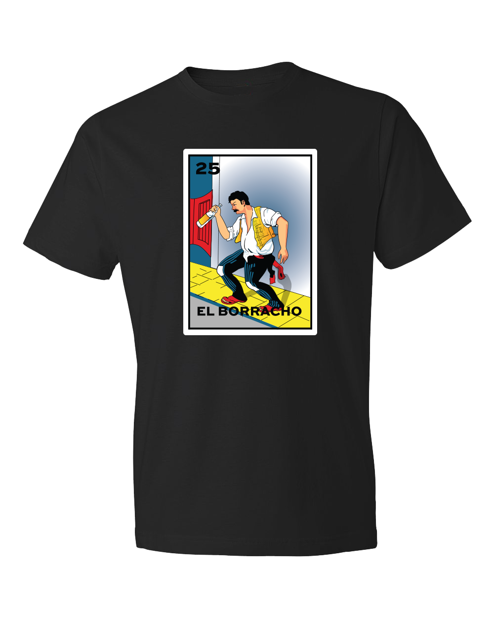 Black solid t shirt with El Borracho and a drunk man in a bar setting printed on a rectangle from the classic Loteria game