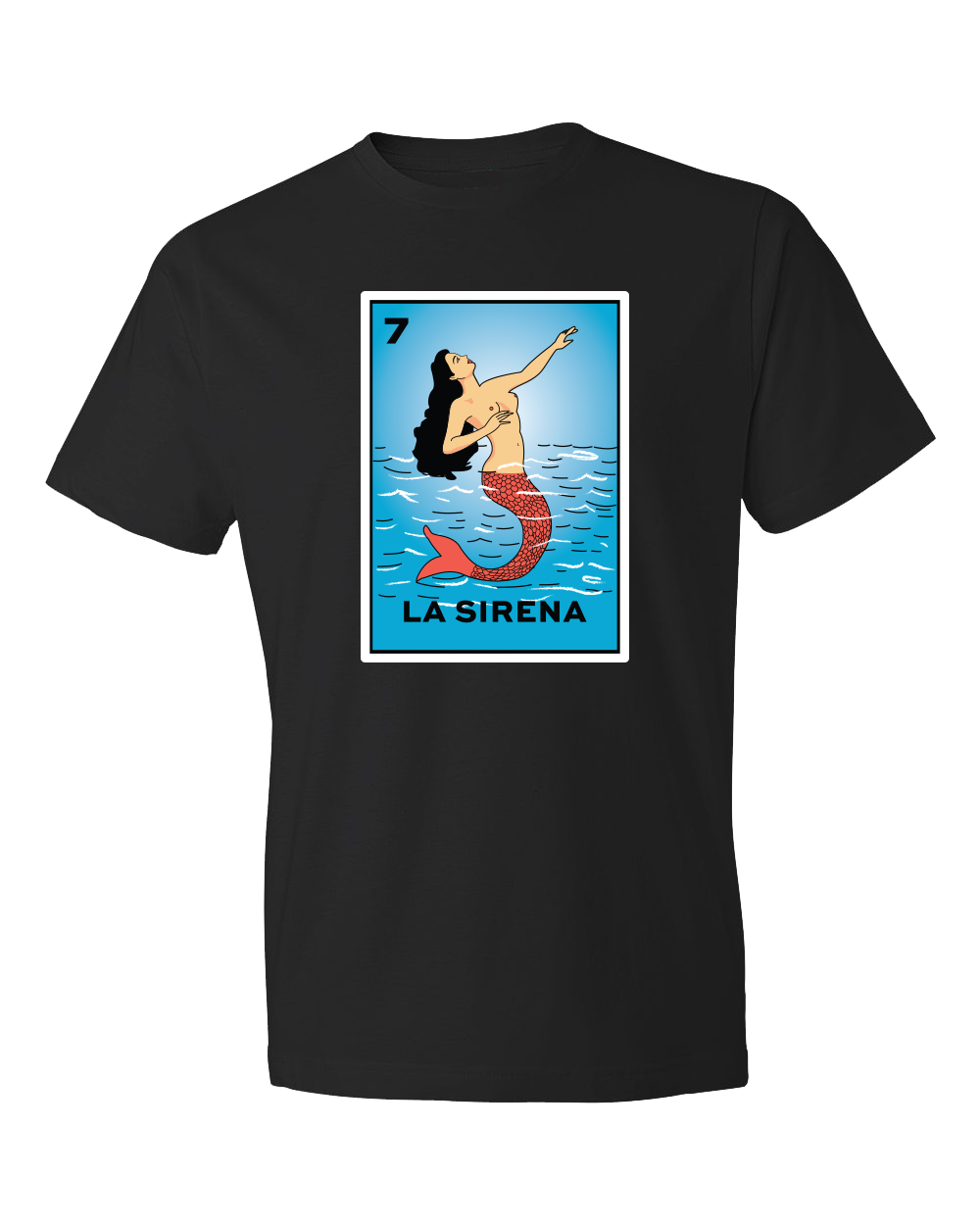 Black solid t shirt with La Sirena and a mermaid coming out of water on a card from the classic Loteria game blue and red